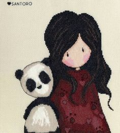 Gorjuss Panda Girl Cross Stitch Kit £25.00 | Past Impressions | Bothy Threads