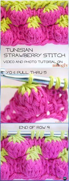Crochet Tunisian Strawberry Stitch Free Pattern & Video Tutorial-Crochet Strawberry Stitch Free Patterns