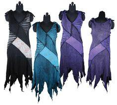 Hippy Dress Bohemian Pixie Style Dress Funky Ripped Effect Panel Sun Dress Fair Trade By Folio Gothic Hippy FX511