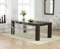 Madrid 200cm Dark Solid Oak Dining Table with Phillipe Starck Style Ghost Chairs