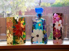 Hand Painted Vase glass vase floral botanical by SylwiaGlassArt