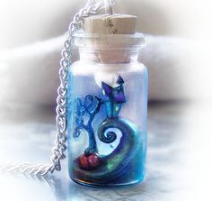 Tim Burton& Nightmare Before Christmas inspired bottle necklace, halloween polymer clay pendant necklace, geek necklace, geek jewelry Vial Necklace, Ribbon Necklace, Blue Necklace, Necklace Chain, Earrings, Tim Burton, Bottle Charms, Clay Charms, Seed Beads