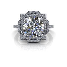 Halo Engagement Ring Diamonds and Forever One™ Moissanite 3.42 CTW