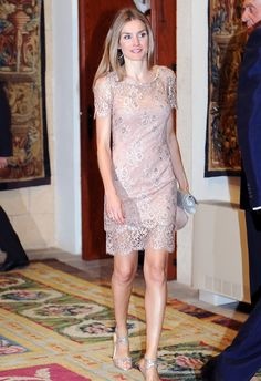 Letizia, Princess of Asturias wore a FELIPE VARELA lace dress at the Palace of the Almudaina for the traditional dinner with the authorities of the Balearic Islands as part of the summer holidays of the royal family in Palma de Mallorca. 10/8/2012