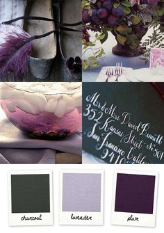 lavender, charcoal, and plum Wedding Colors: Purple color palette Dark Purple Wedding, Plum Wedding, Fall Wedding, Dream Wedding, Wedding Stuff, Wedding Pins, Purple Gray, Purple Hues, October Wedding