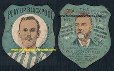 Schofield of Blackpool FC and South Shore FC on a Fleece Hotel trade card. The hotel was run by his father, W. World Football, Football Soccer, Blackpool Fc, Soccer Cards, Rarity, Father, Pai, Football Cards