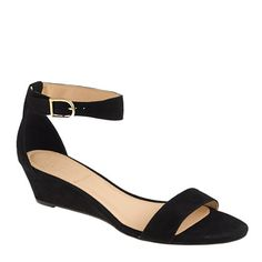 My new favoite shoe!  Classy & beautiful. They can go dresy or casual.  Lillian suede low wedges - sandals - Women's shoes - J.Crew