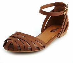 Charlotte Russe Caged Ankle-Strap Flat Sandal on shopstyle.com