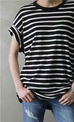 black & white striped cuffed tee, destroyed skinny bf jeans