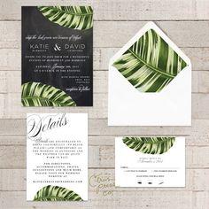 Botanical Palm Leaf Wedding Invitation Tropical by CitrusPressCo