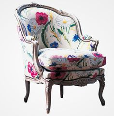 Roche Bobois chair....Love the beautiful fabric used on this chair......