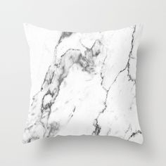 White Marble I Throw Pillow by THE AESTATE