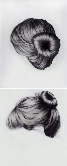I cant even make my real hair look like this, let alone draw hair that looks like this! Upswept, long n flowing, twists & braids. these gorgeous hair studies are mixed media drawings on canvas by New York based artist Brittany Schall. Drawing Hair, Painting & Drawing, Realistic Hair Drawing, Pencil Drawings, Art Drawings, How To Draw Hair, Gorgeous Hair, Art Techniques, Love Art