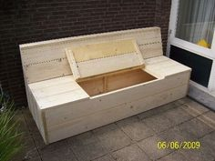 18 Outstanding Concepts For Wood Patio Furniture, Diy Garden Furniture, Wood Sofa, Outdoor Couch, Outdoor Seating, Outdoor Lounge, Homemade Couch, Garden Storage Bench, Wooden Containers