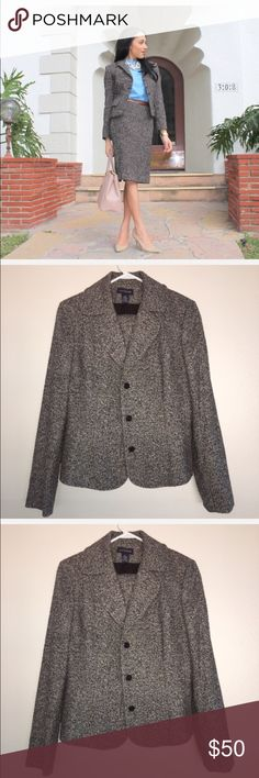 ANN TAYLOR Skirt Suit. ANN TAYLOR Skirt Suit. Jacket is a size 10 and skirt is a size 8. The actual suit does not have the front pockets. Ann Taylor Dresses