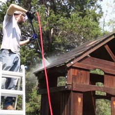 Got an old nasty playset in your backyard? Restore it to new in just a few hours of work. If you love powerwashing restoration you'll love this project! Backyard Playset, Backyard Playhouse, Backyard Games, Backyard Landscaping, Backyard Play Areas, Backyard Fort, Backyard Shade, Playhouse Plans, Play Yard