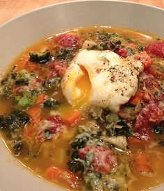 Tuscan Style Vegetable Soup with a Poached Egg - recipe from Front Door Organics