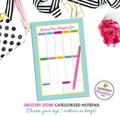 Grocery Shopping List Notepad - Aqua Chevron - 2 Sizes Available