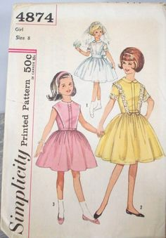 Vintage 60s Sewing Pattern  Girl's Dress by SuzisCornerBoutique