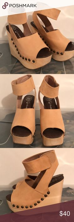 Jeffery Campbell Nude Wedges Jeffrey Campbell Nude wedges size 7.5. Worn once in great condition! A few minor scratches. Jeffrey Campbell Shoes Wedges