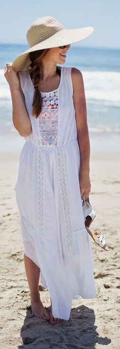 White Sleeveless Crochet Detail Maxi Dress
