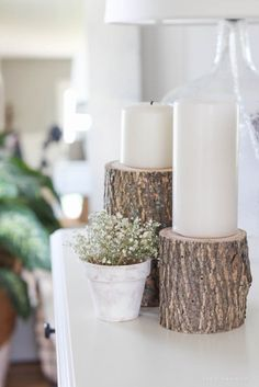 Bring a touch of nature into your home with these super easy (and cheap!) log candleholders. See more photos at LoveGrowsWild.com