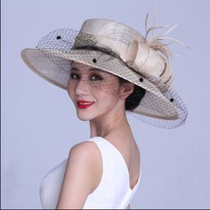 7f1032339e6 Church Kentucky Derby Carriage Tea Party Wedding Wide brim Sinamay Hat 3  Colour  ChurchDress