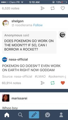 NASA's tumblr replying to people is amazing