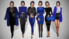 "avelinesims: "" Lookbook #14: Electric Blue Look 1 Jacket: @sherazade-sims [xx] / Bag: @theslyd [xx] / Jumpsuit: @sims-boutique [xx] / Boots: Toksik [xx] Look 2 Top: @blue8whitewolfcreation [xx] / Pants: @hautfashionsims4 [xx] / Clutch: @theslyd [xx]..."