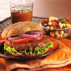 Barbecued Turkey Burgers with Three-Bean Salad [Sponsored by Cargill]