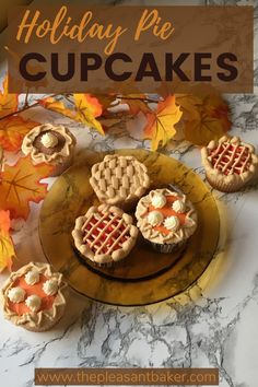In this post I will walk you through step by step how to make these adorable holiday cupcakes that look like Thanksgiving Pies :)   #holidays #cupcakes #thanksgivingpie #thepleasantbaker