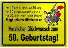 Gelbes Schild mit Esel und Ritter zum 50. Geburtstag - Geburtstagssprüche-Welt