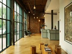 The Wythe Hotel, Williamsburg, Brooklyn. Workstead Interiors, Brooklyn, NY. The combination of earthy materials and colors creates a beautiful lobby in the hotel lobby. Remodelista.