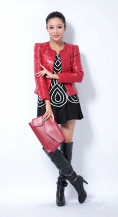 Factory New Fashion Women Genuine Sheepskin Leather Down Jacket O-Neck Collar Casual Short Slim Red Coat Outerwear Winter ZH072B $133.99