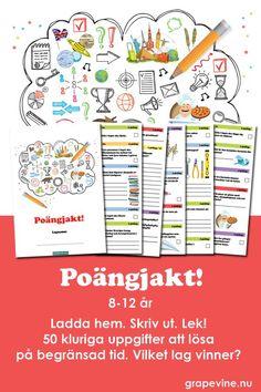Poängjakt för barn i åldern 8-12 år. Dela upp barnen i lag och ge dem häftet med 50 uppgifter. Vilka väljer de att lösa när tiden är knapp? Flest poäng vinner! Kunskapsfrågor och praktiska utmaningar. Superkul för barnen - otroligt enkelt att organisera. Du får allt material på mail - skriver ut så mycket du behöver!  #poängjakt #poängtävling #lagtävling #barnkalas #kalas #lek #kalaslekar #barnkalaslekar