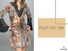 A peça do dia é esse lindo vestido estampado com detalhes encantadores em renda!