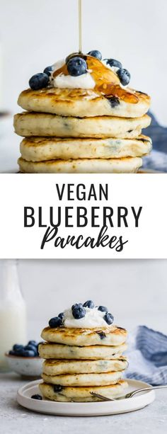 These healthy vegan blueberry pancakes are the best! They're easy to make, fluffy and loaded with blueberries! #veganrecipes #veganpancakes #pancakerecipes #pancakephotography