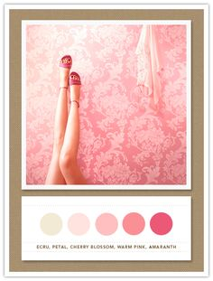 Color Palette: ecru, petal, cherry blossom, warm pink, amaranth - add a light blue-green and this is my palette for the dining room