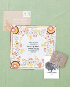 """Stenciled on hankies....See the """"Vintage Handkerchief Invitations"""" in our Easy Ways to Upgrade Your Wedding Invitations gallery"""