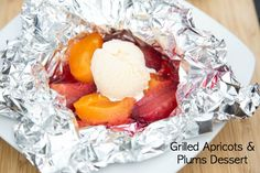 Look for a great and healthful new dessert that you can cook on the grill this summer? This recipe for Grilled Plums & Apricots is marvelous, and will fit right in at your next cookout!  | 5DollarDinners.com