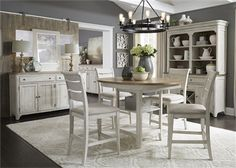 Farmhouse Reimagined 5 Piece Gathering Counter Height Table Set in Antique White Finish with Chestnut Tops by Liberty Furniture - Furniture, Pub Set, Farmhouse Dining Room Table, Table, Counter Height Table Sets, Counter Chairs, Dining Room Table, Liberty Furniture, Farmhouse Table