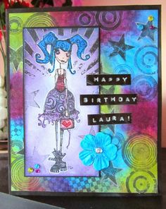 Artwork created by Serena Bee using rubber stamps designed by Daniel Torrente for Stampotique Originals