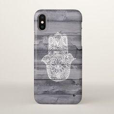 White hand drawn Hamsa hand of fatima on wood iPhone X Case - pattern sample design template diy cyo customize