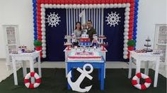 Resultado de imagen para marinheiro festa infantil Anchor Birthday, Sailor Birthday, Dog Birthday, Birthday Ideas, 1st Birthday Decorations, Nautical Party, Holidays And Events, Baby Boy Shower, Party Themes