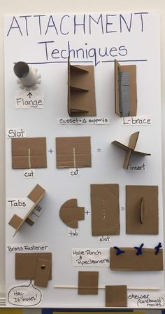 "Attachment techniques of cardboard. Great non glue sculpture attachment techniques. Sculpture, non adhesive methods, building""A great resource for those looking for cardboard attachment techniques!Cardboard attachment I copied the one created origi Cardboard Sculpture, Cardboard Art, Cardboard Playhouse, Cardboard Castle, Cardboard Design, Paper Sculptures, Cardboard Box Storage, Cardboard Kitchen, Cardboard Box Houses"
