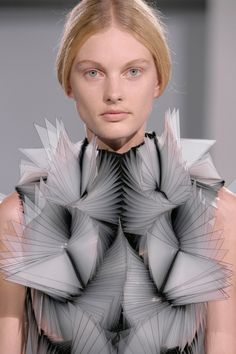 Iris van Herpen showcased her five new architectural looks alongside her previous pieces for the Haute Couture collection, combining 3D printing with hand-made processes.