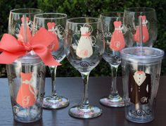 7 Personalized Bridesmaid Wine Glasses with Ring Bearer and Flower Girl Tumblers