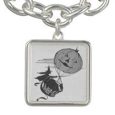 Monochrome Witch Air Balloon Jack O Lantern Charm Bracelets