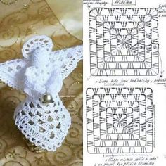 Crochet Angel Free Patterns &a Crochet Diy, Crochet Motifs, Thread Crochet, Crochet Crafts, Crochet Doilies, Crochet Projects, Crochet Angel Pattern, Crochet Angels, Crochet Stars