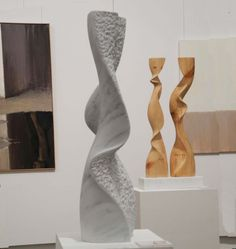 Marble #sculpture by #sculptor Nando Alvarez titled: 'Waterfall (Carved abstract Flowing Carved stone Water Flow statuette)'. #NandoAlvarez                                                                                                                                                                                 Más